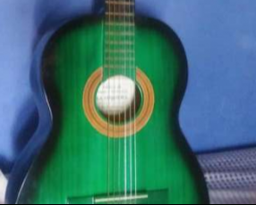 Guitarra acústica color verde y negro