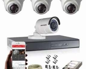 Sistema de circuito cerrado 4 cámaras HD Hikvision