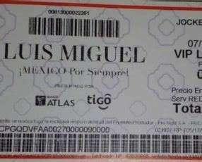 Entradas Concierto Luis Miguel Platea