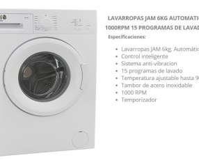 Lavarropas JAM 6 kg automático JM-F01 1000RPM