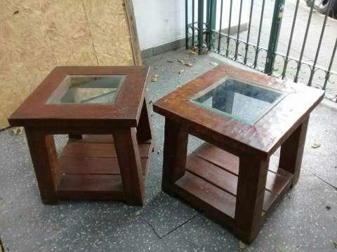 2 Mesitas de madera maciza y vidrio - 0
