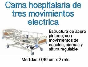 Cama hospitalaria de 3 movimiemtos eléctrica con colchón