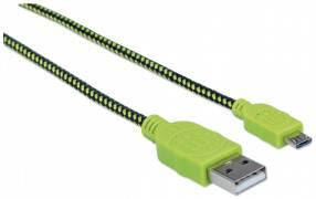 Cable USB/MIC-USB 352765 1.8M verde/negro