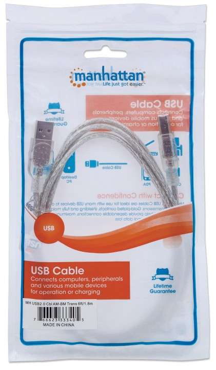 MANH CABLE USB PRINTER 333405 1.8MTS TRANSPARENTE - 0