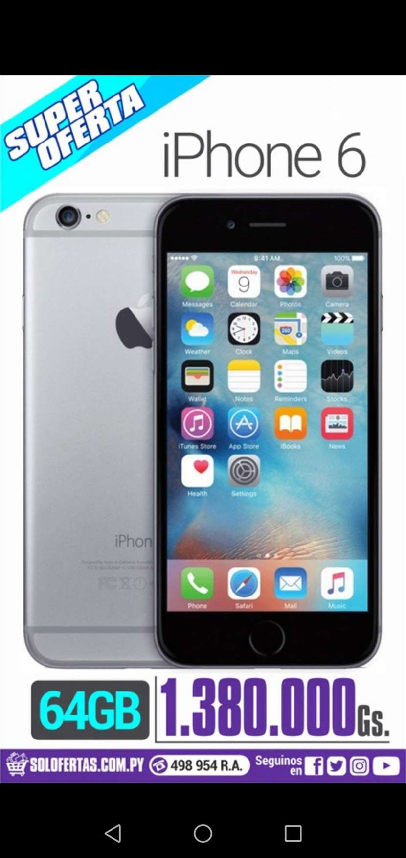 iPhone 6 de 64 gb space gray - 0