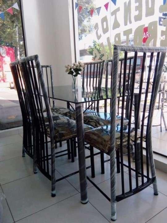 Juego de comedor elegance 6 sillas mesa de vidrio - 1