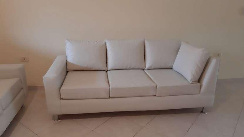 """Sofá de cuero Blanco en forma de """"L"""" (2 piezas) - 0"""