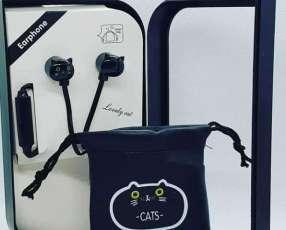 Audífonos con forma de gato y bolsita para llevarlos