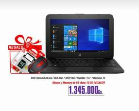 Notebook Hp 11 pulgadas + Mouse + Memoria de 64gb