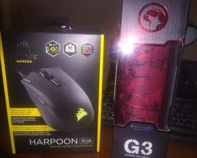 Combo Mouse corsair Harpoon RGB + Mouse pad Marvo G3