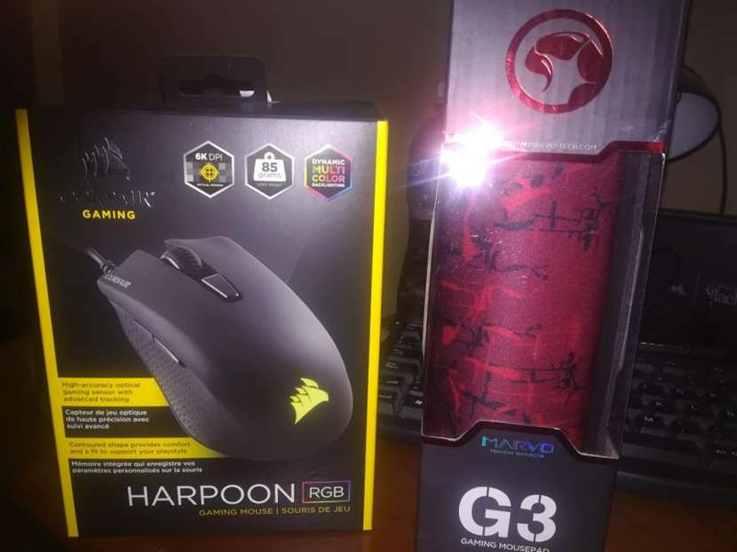 Combo Mouse corsair Harpoon RGB + Mouse pad Marvo G3 - 0