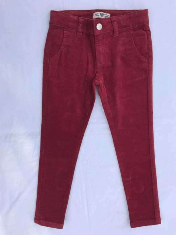 Pantalón nena invierno talla 4 años rojo de pana