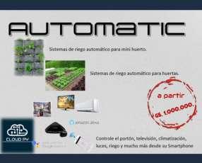 Automatización, control remoto, riego, jardín, casa, luces