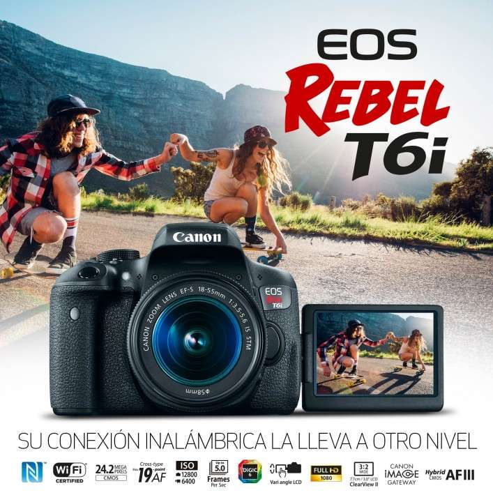 CAMARA CANON T6i kit lentes 18-55mm