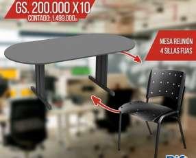 Mesa de reunión avalada + 4 sillas