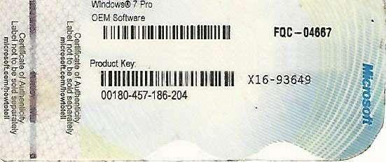Licencia de Windows 7 Pro OEM - 0