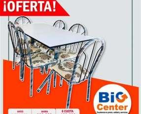 Juego comedor 6 sillas de metal