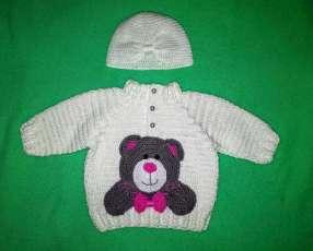 Abrigo y gorro de crochet 100% algodón
