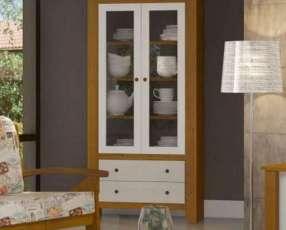 Estante cristalera biblioteca 8971 finestra teka blanco/imbu