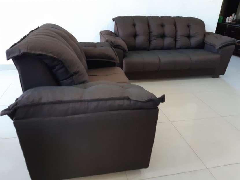 Juego de living sofá abba quebec 3 y 2 lugares - 0