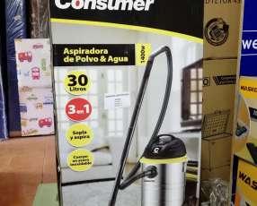 Aspiradora Consumer 30 litros inoxidable