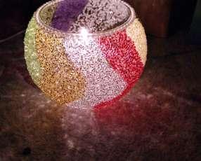 Porta velas detalles de colores