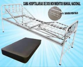 Alquiler de cama hospitalaria de dos movimientos manual