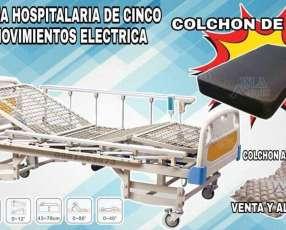 Cama hospitalaria de cinco movimientos eléctricas importada