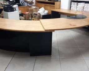 Juego de escritorio y armarios de madera maciza