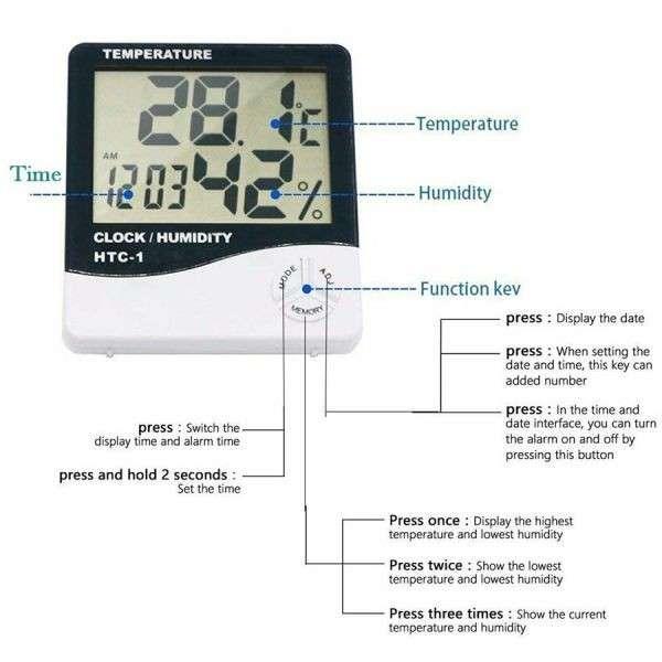 Termohigrometro Digital - Medición de Temperatura y Humedad - 3