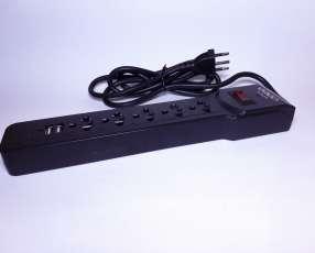 Filtro de línea 5 tomas universales + 2 puertos USB