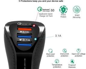 Cargador USB de auto 3.1A triple enchufe super rápido