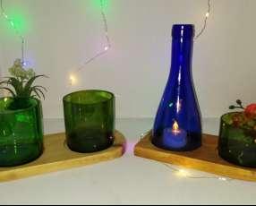 Veladores artesanales con botellas