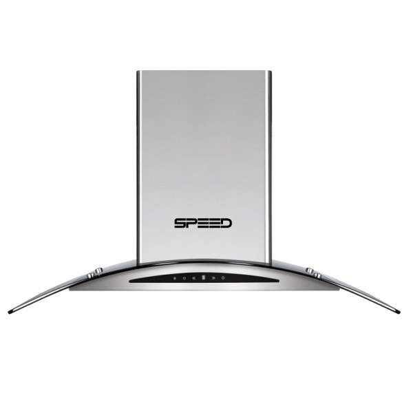 Campana speed 90 cm isla digital c/vidrio p/cocina - 0