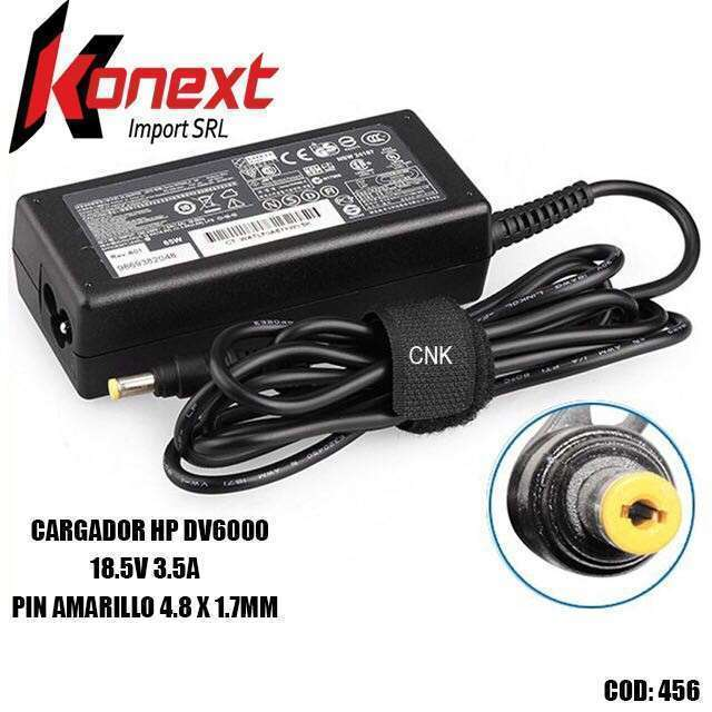 Cargador HP DV6000 18.5V 3.5A pin amarillo 4.8 X 1.7MM (G) - 0