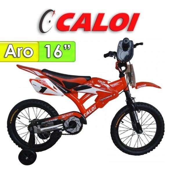 Bicicleta Moto Aro 16 Caloi Rojo - 0