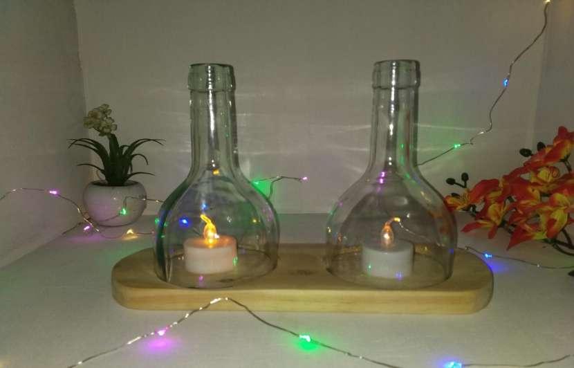 Veladores y salseros hechos de botellas de vidrio - 0