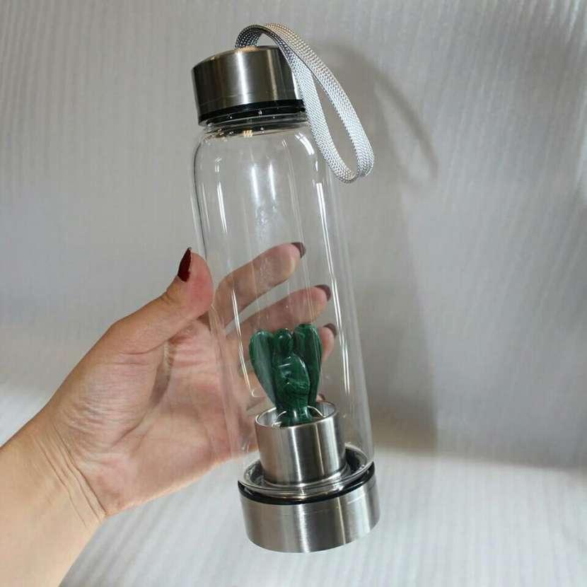 Botella de agua de 500 y 420 ml con cuarzo rosa - 1