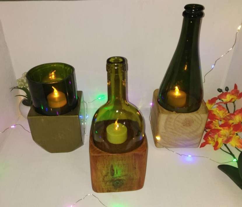 Veladores y salseros hechos de botellas de vidrio - 1