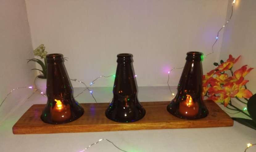 Veladores y salseros hechos de botellas de vidrio - 2