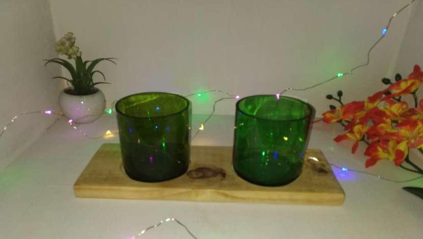 Veladores y salseros hechos de botellas de vidrio - 3