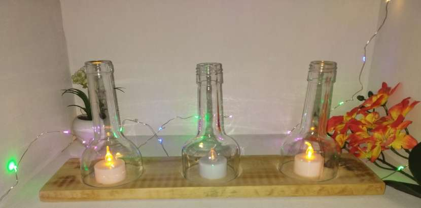 Veladores y salseros hechos de botellas de vidrio - 5