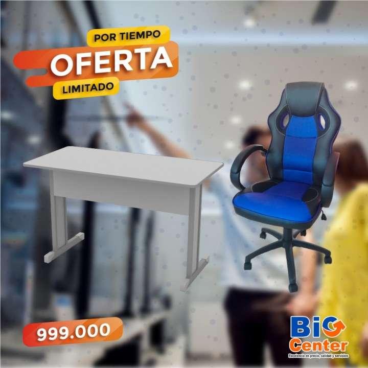 Escritorio 120 ceniza+ silla gaming - 0