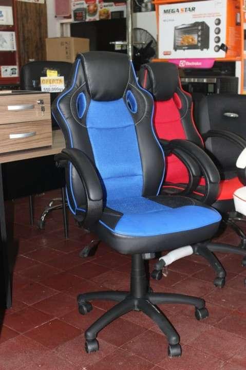 Escritorio 120 ceniza + silla gaming - 0