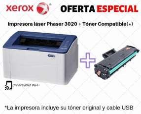 Impresora láser wifi xerox 3020 + tóner compatible