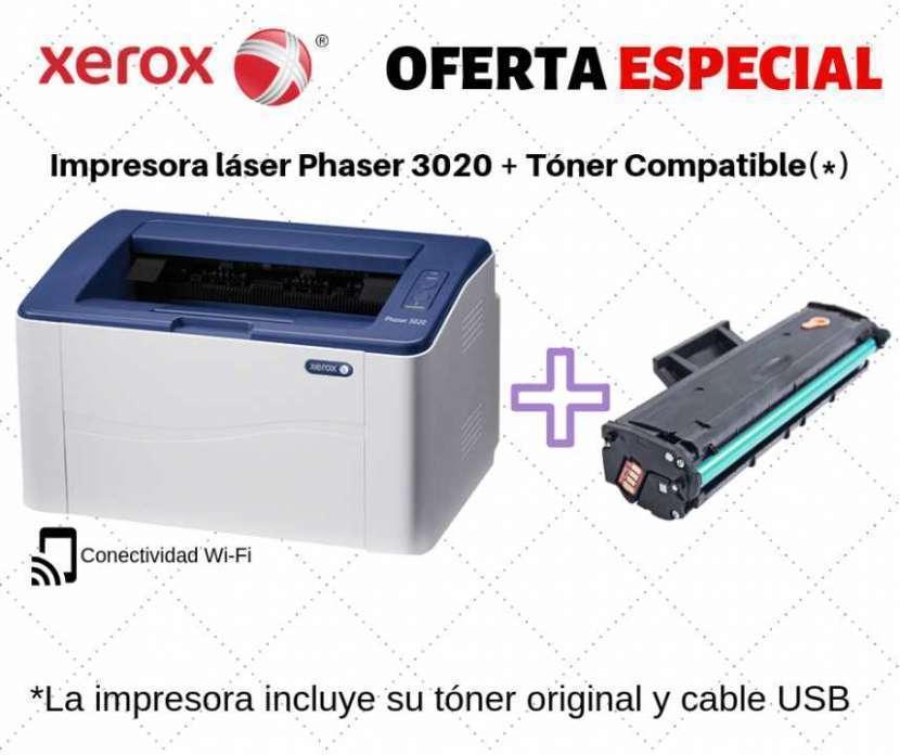 Impresora láser wifi xerox 3020 + tóner compatible - 0