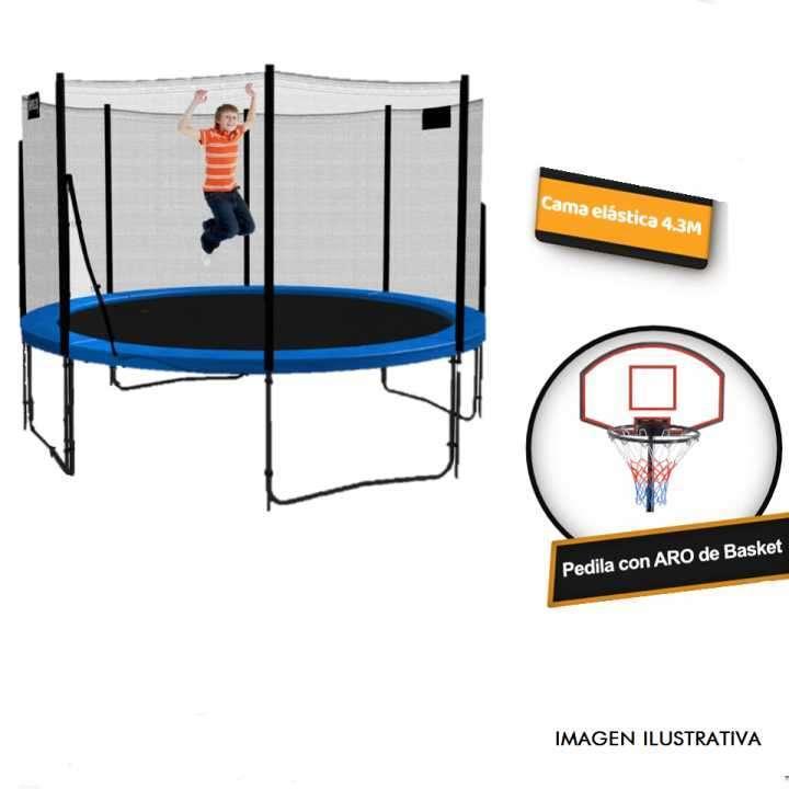 Cama elástica 4.3 mts con red c/ aro de basquet - 2