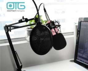 Kit de estudio de grabación con micrófono rosado