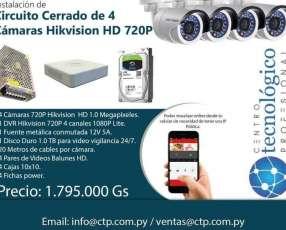 Instalación de Circuito Cerrado de 4 Cámaras Hikvision HD 720P