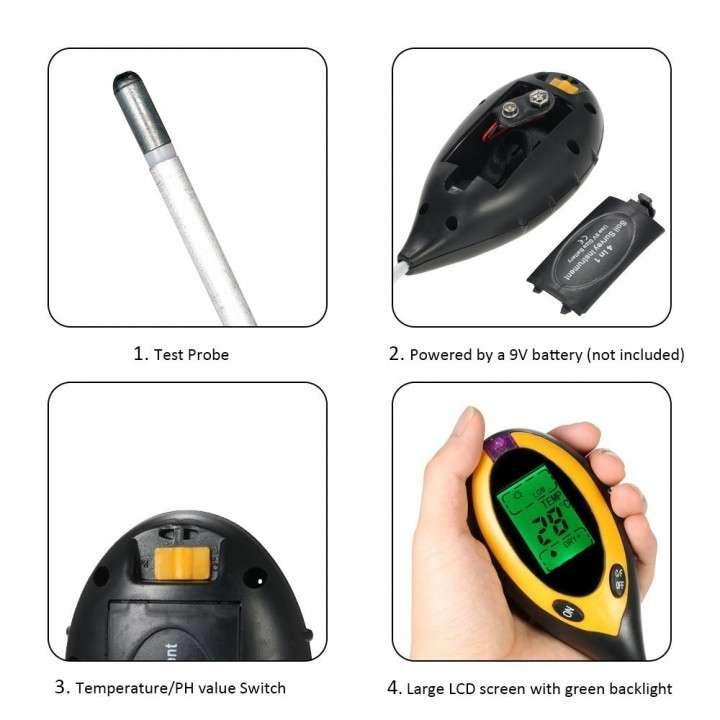 Medidor Digital de Suelo Humedad / Temperatura / Luz / pH - 1